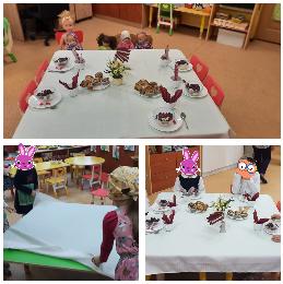 Bērni klāj galdus ar baltiem galdautiem